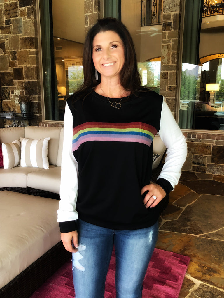 Rainbow striped raglan pullover