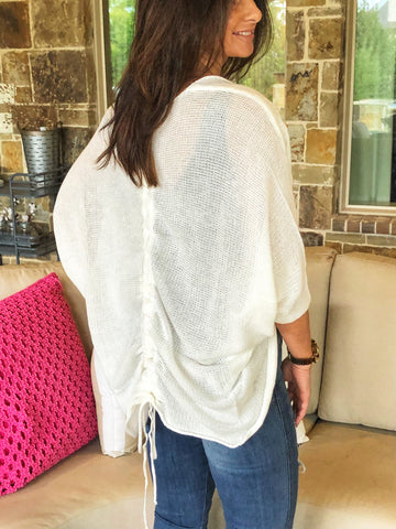 Ivory white knit ruched back shrug cardigan top