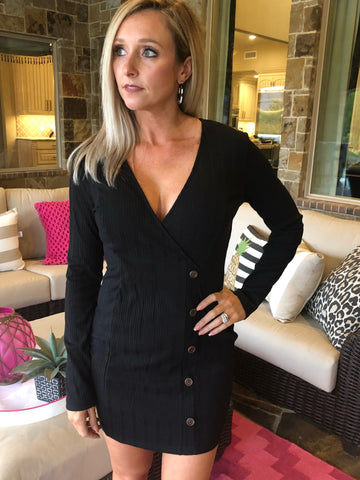 Black - Wrap Rib Dress with Button Detail