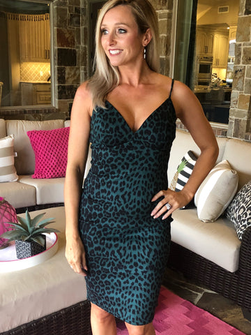 Hunter Green Leopard Dress