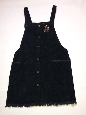 Corduroy Frayed Overall Dress - Black