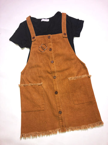 Corduroy Frayed Overall Dress - Camel
