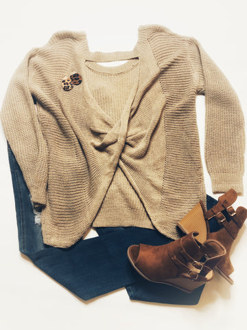 Twisted Open Back Tunic Sweater - Beige