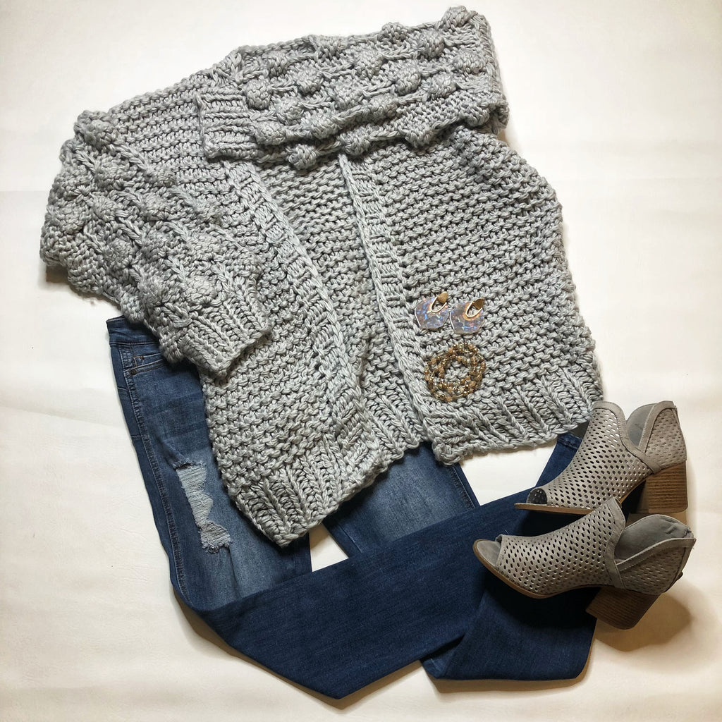 Grey Heavy Weight POM Detail Cardigan
