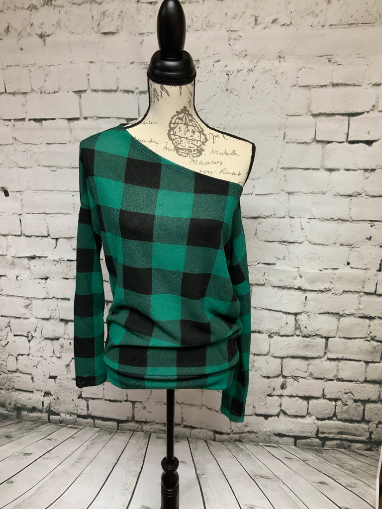 Hunter Green off the shoulder checkered top