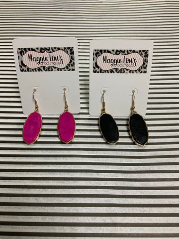 Pink or Black drop earrings