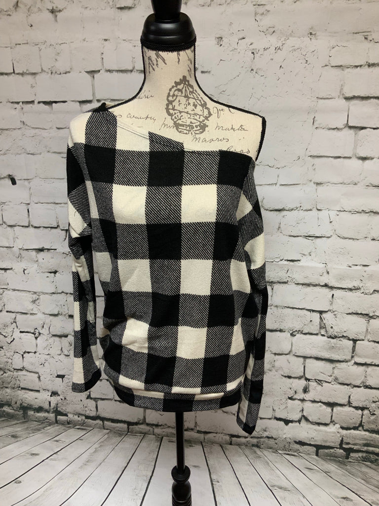 Ivory & Black off the shoulder checkered top