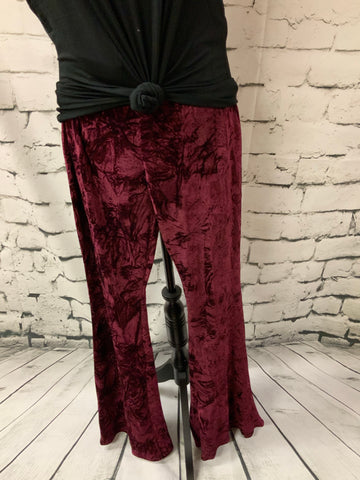 Burgundy Velvet Bell Bottoms