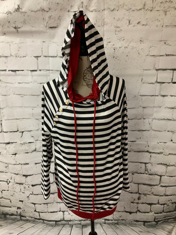 Black & White striped hoodie w/ red accents