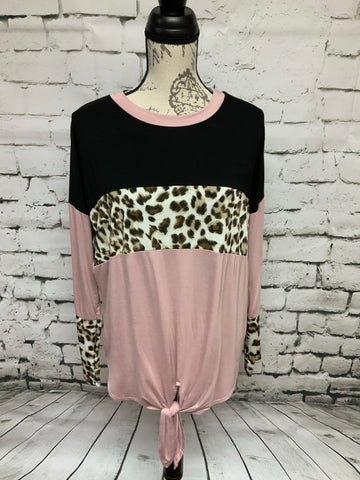 Black & Pink Animal Print Top with Tie Detail
