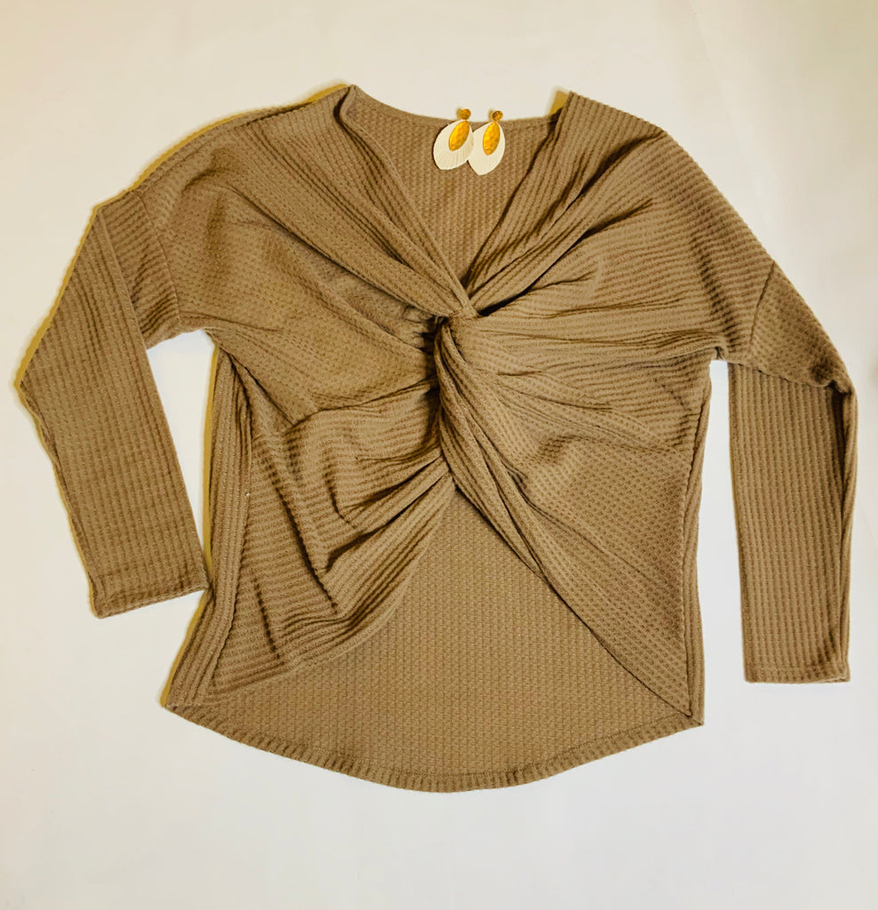 Taupe Twist Front Waffle Top