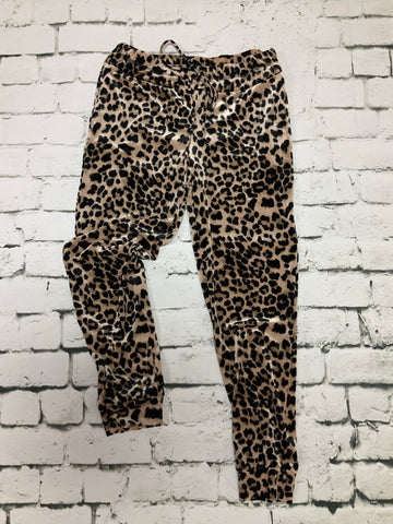 Cheetah print knit joggers with elastic waistband
