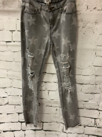 Distressed Star - Grey Jeans