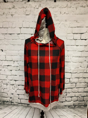 Red & Black Checkered Hoodie