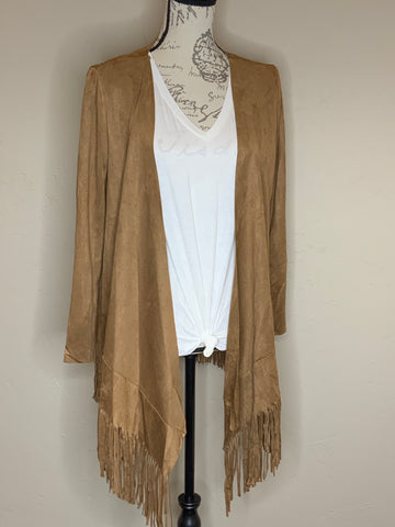 Faux Suede Fringe Jacket in Mocha