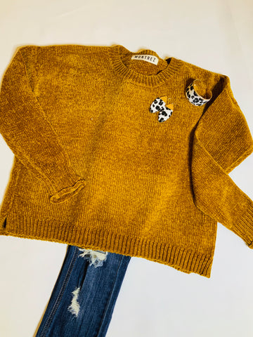 Chenille Fuzzy Cropped Sweater / Golden Yellow