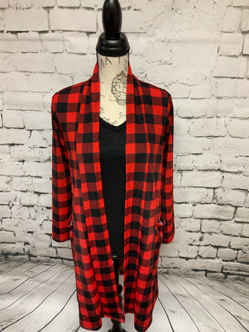 Red & Black Buffalo Plaid Cardigan