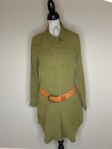 Olive Green Button Up Dress