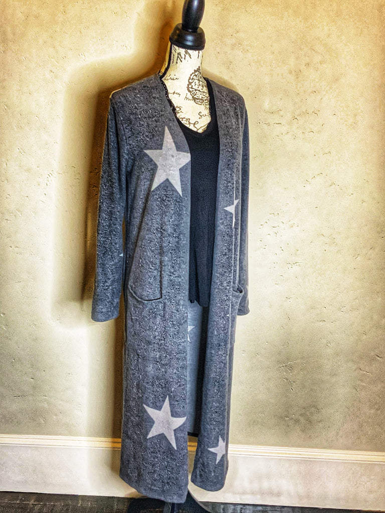 Charcoal Star Print Knit Long Cardigan