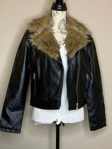 Black Faux Leather Jacket with Fur Collar