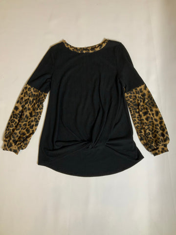 Black knit sweater with cheetah print puff sleeves