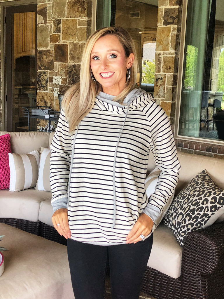 Black and White Striped Pull Over