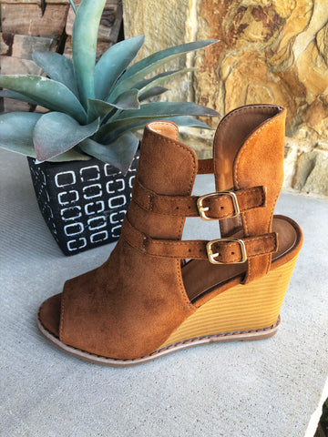 Tan Wedge with Buckle Detail