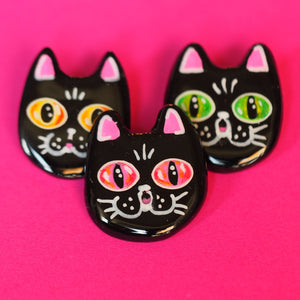 Handmade pin, black cat