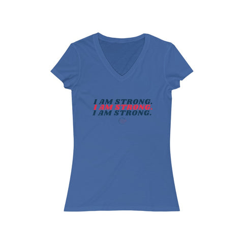I Am Strong Women's Jersey Short Sleeve V-Neck Tee
