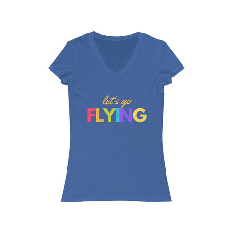 Let's Go Flying Women's Jersey Short Sleeve V-Neck Tee