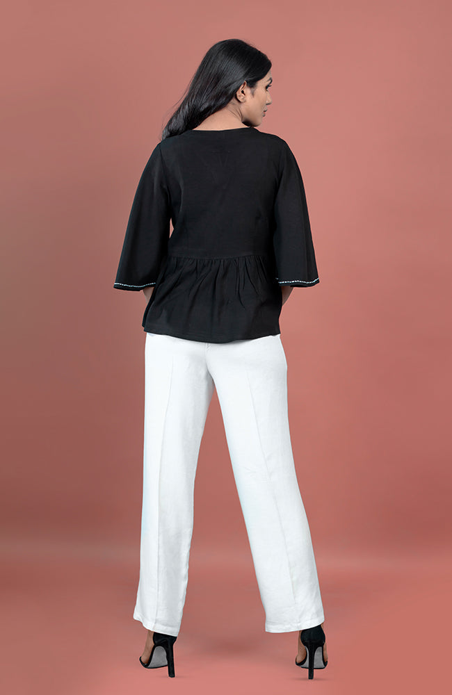 Black Peplum Top with Ivory Straight Formal Trouser