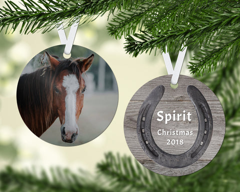 Horse Christmas Ornament, Custom Photo, Horseshoe