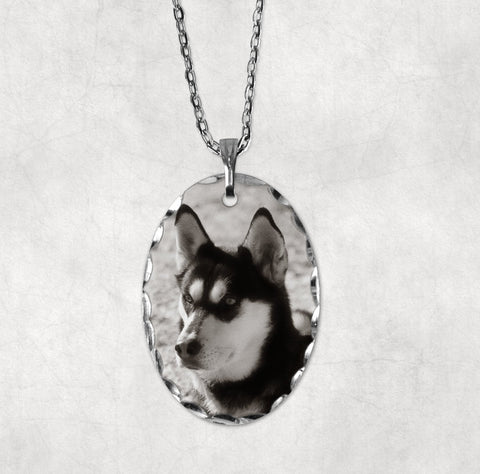 Photo Pendant, your photo, oval Florentine edge on chain