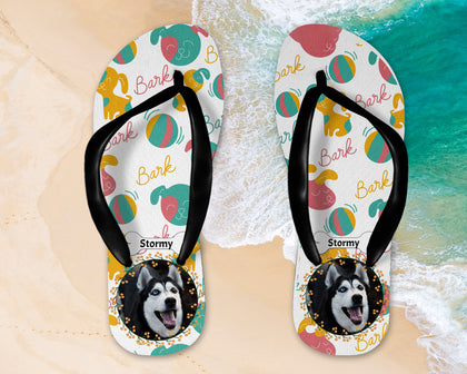 Flip Flops with Dog, Horse, Cat photo and pattern