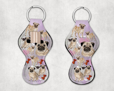 Pugalicious Chapstick Holder Keychain, Neoprene, Pug keychain, Party Favors, Secret Santa, Grab bag FREE SHIPPING