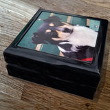 Black Lacquer Keepsake Box Photo Gloss Hinged Top Personalize FREE SHIPPING