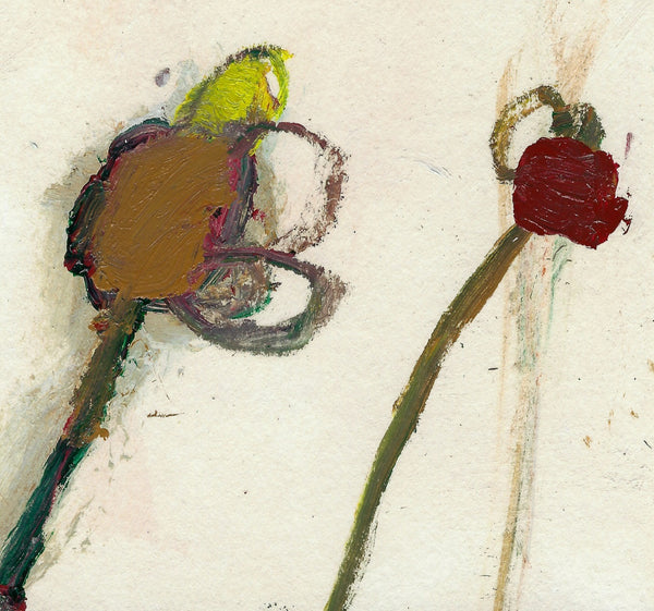 Small Original Paper Painting: Two Flowers