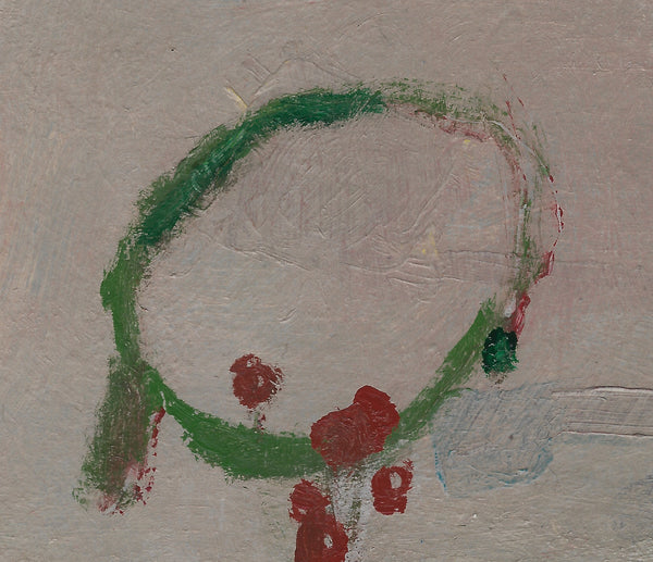 Small Original Paper Painting: Green Table, Red Cups