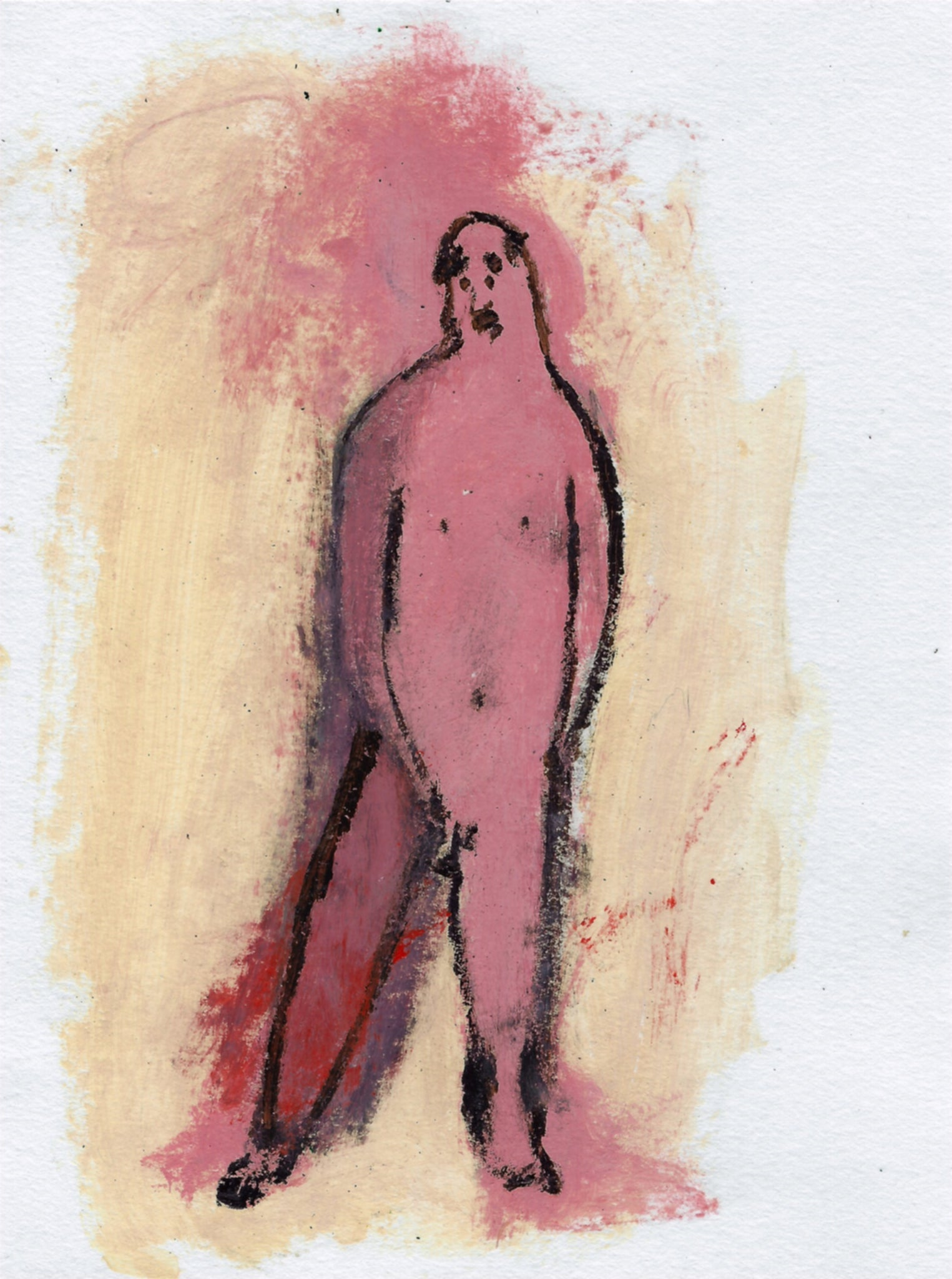 Small Original Paper Painting: Naked Man 2
