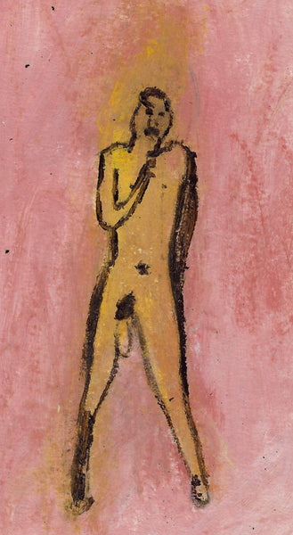 Small Original Paper Painting: Naked Man 3