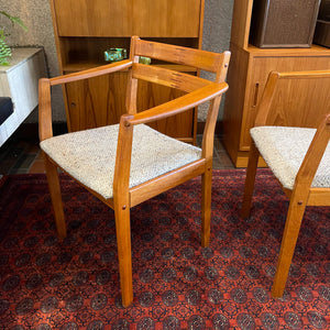 Pair of Johannes Andersen Solid Teak Arm Chairs for Uldum Møbelfabrik