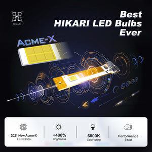 HIKARI 2021 Acme-X LED Bulbs, Ultra Brightness, Wider Driving Vision, All-in-One 1:1 Design, Best Halogen Replacement, 6K Cool White IP68 Foglight