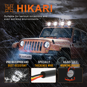 HIKARI 2020 New Circular Flood&Warning LED pods light bar 2PCS, 5 Lighting Modes, 15000LM Top LED Chips, Driving Fog Backup Work Off Road Bumper for Ford Trucks Pickup Jeep UTV ATV
