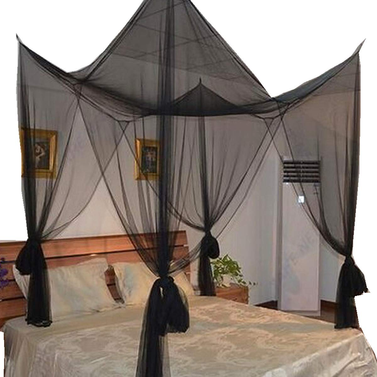 Black 4 Corner Post Bed Canopy Mosquito Netting Twin Full Queen King Size