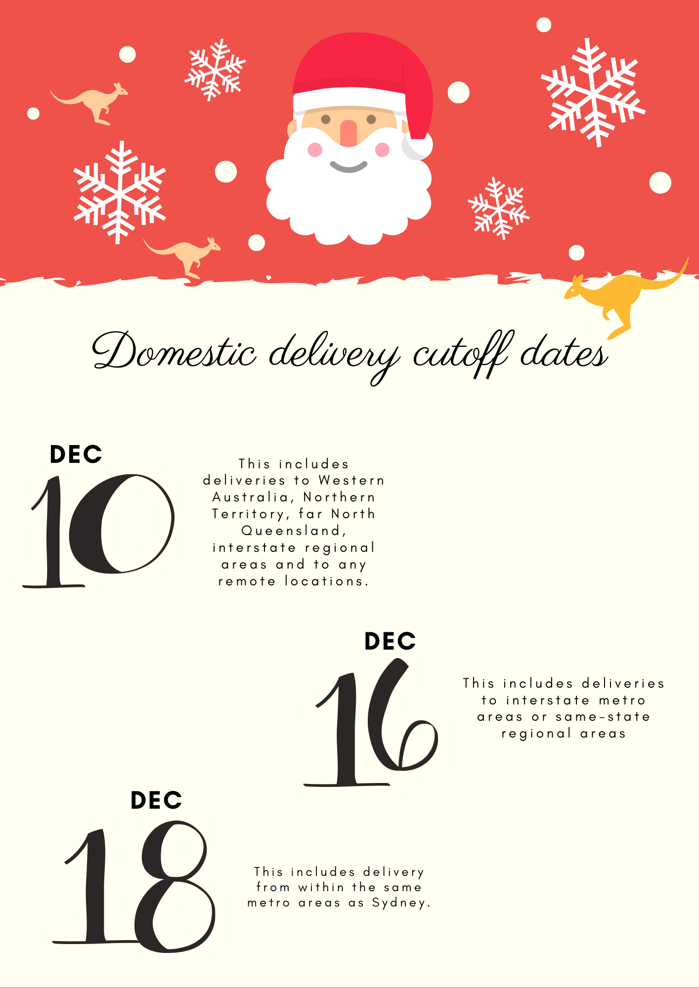 TECMASK Domestic Christmas Delivery Cut Off Dates