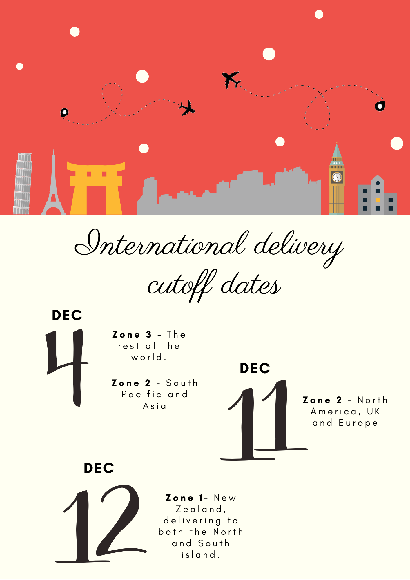 TECMASK Christmas International Delivery Cut Off Dates