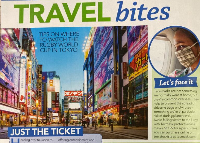 TECMASK disposable face masks featured in the Travel Bites section of Women's Weekly New Zealand