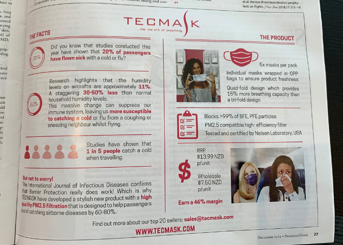 TECMASK feature in Pharmacy Today New Zealand Magazine
