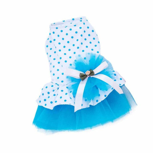 Blue Lace Polka Dot Skirt