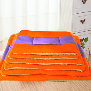 Orange Fleece Dog Bed